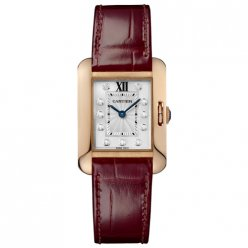 AAA Cartier Tank Anglaise diamond watch for women WJTA0007 18K pink gold leather strap