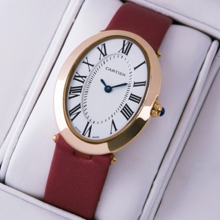 AAA Cartier Baignoire 18K pink gold womens watch crimson satin strap