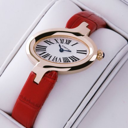 AAA Delices de Cartier replica watch for women 18K pink gold leather strap