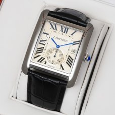 AAA Cartier Tank MC swiss quartz watch for men steel silver dial black