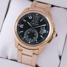 AAA Calibre de Cartier automatic mens watch W7100040 pink gold black dial