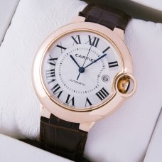 AAA Ballon Bleu de Cartier W6900651 watch 18K pink gold brown leather strap