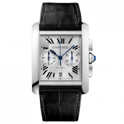 AAA Cartier Tank MC Chronograph mens watch W5330007 steel silver dial