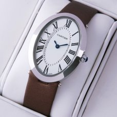 AAA Cartier Baignoire steel womens watch coffee satin strap