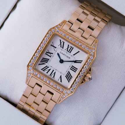 AAA Cartier Santos Demoiselle 18K pink gold diamond swiss watch for women