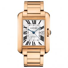 AAA Cartier Tank Anglaise replica watch for men W5310002 18K pink gold