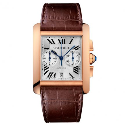 AAA Cartier Tank MC Chronograph mens watch W5330005 pink gold silver dial