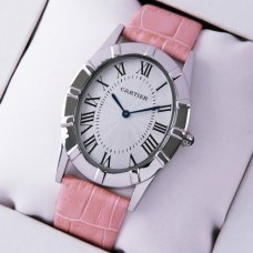 AAA Cartier Baignoire steel large watch for women pink leather strap
