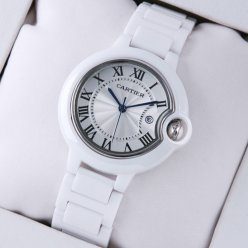 AAA Ballon Bleu de Cartier medium white ceramic watch replica