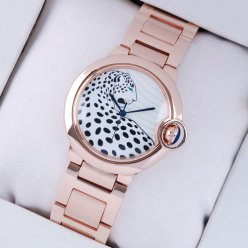 AAA Ballon Bleu de Cartier medium swiss watch 18kt pink gold leopard-print dial