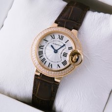 AAA Ballon Bleu de Cartier quartz watch diamond pink gold brown leather strap