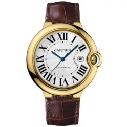 AAA Ballon Bleu de Cartier W6900551 watch 18K yellow gold brown leather strap