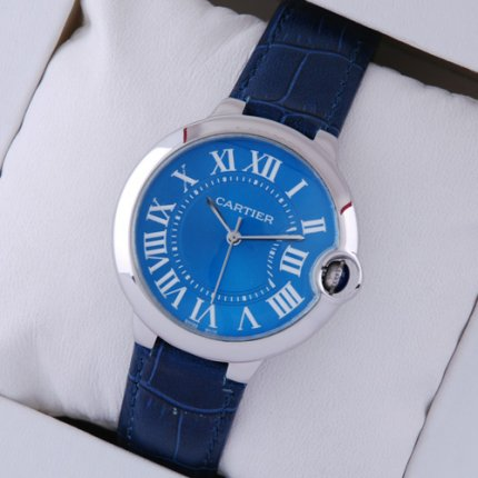 AAA Ballon Bleu de Cartier steel watch imitation blue dial leather strap