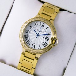 AAA Ballon Bleu de Cartier medium quartz yellow gold watch with diamonds