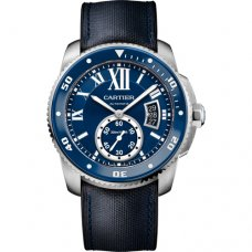 AAA Calibre de Cartier Diver blue watch steel blue leather and rubber strap WSCA0010