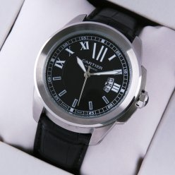 AAA Calibre de Cartier quartz watch for men steel black dial and leather strap