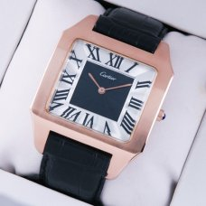 AAA Cartier Santos Dumont 18K pink gold watch imitation black and silver dial