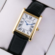 AAA Must de Cartier Vermeil swiss watch 18K yellow gold black leather strap