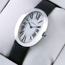 AAA Cartier Baignoire steel large womens watch black satin strap