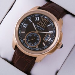 AAA Calibre de Cartier pink gold mens watch W7100007 brown dial