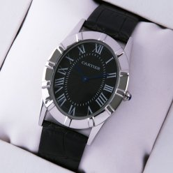 AAA Cartier Baignoire steel large watch black dial and leather strap