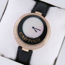 AAA Captive de Cartier 18k pink gold black leather strap diamond watch