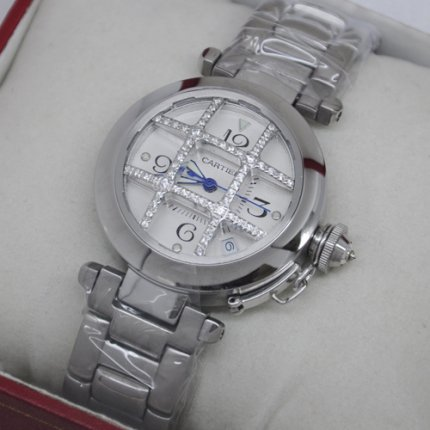 AAA Pasha de Cartier cage design diamond watch for women steel silver dial