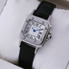 AAA Cartier Santos 100 quartz small womens watch steel black leather strap