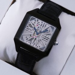 AAA Cartier Santos Dumont Skeleton mens watch black PVD and leather strap