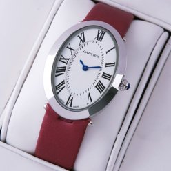 AAA Cartier Baignoire steel womens watch replica crimson satin strap