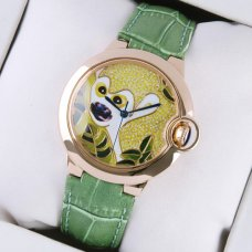 AAA Ballon Bleu de Cartier pink gold watch pattern dial green leather strap