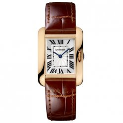 AAA Cartier Tank Anglaise watch for women W5310027 18K pink gold brown leather strap