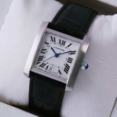AAA Cartier Tank Francaise mens watch stainless steel black leather strap