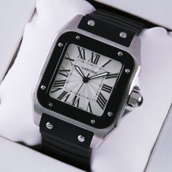 AAA Cartier Santos 100 mens watch W20121U2 stainless steel black rubber strap