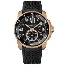 AAA Calibre de Cartier Diver watch W7100052 pink gold black rubber strap