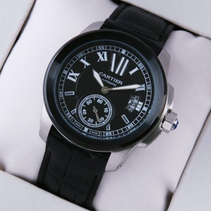 AAA Calibre de Cartier black automatic mens watch with leather strap