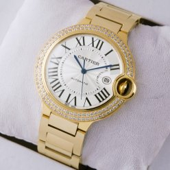 AAA Ballon Bleu de Cartier WE9007Z3 large diamond watch 18K yellow gold