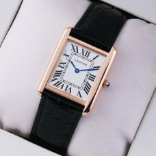 AAA Cartier Tank Solo swiss mens watch replica 18K pink gold black leather strap
