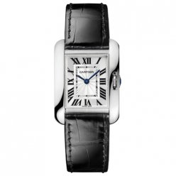 AAA Cartier Tank Anglaise watch for women W5310029 18K white gold black leather strap