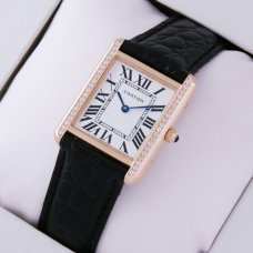 AAA Cartier Tank Solo swiss diamond watch for women 18K pink gold black leather strap