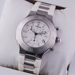 AAA Cartier Must 21 Chronograph steel white rubber band replica watch