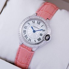 AAA Ballon Bleu de Cartier quartz watch diamond white gold pink leather strap