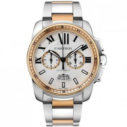 AAA Calibre de Cartier Chronograph watch W7100042 two-tone pink gold and steel
