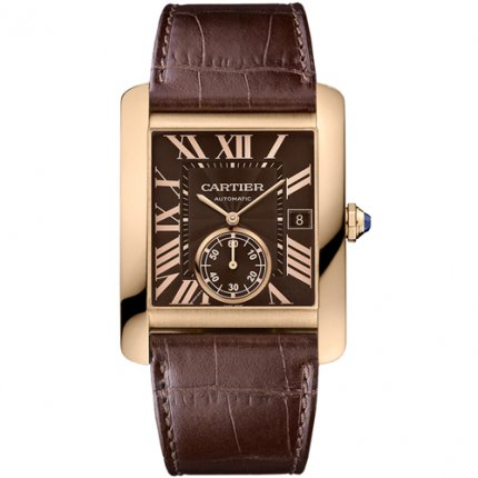 AAA Cartier Tank MC automatic mens watch W5330002 pink gold brown dial