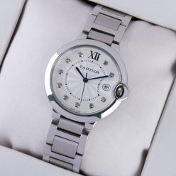 AAA Ballon Bleu de Cartier steel watch with diamonds on dial