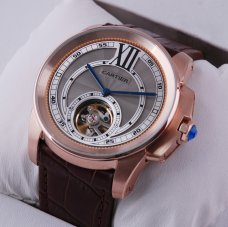 AAA Calibre de Cartier Flying Tourbillon mens watch grey dial 18K pink gold