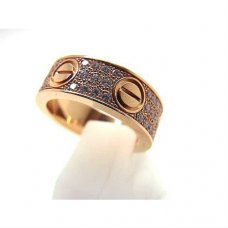 AAA Cartier Love pink gold ring B4087600 with paved diamonds