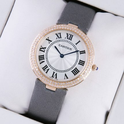 AAA Ronde Solo de Cartier diamond watch for women pink gold grey stain strap