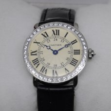 AAA Cartier Ronde Louis diamond swiss watch for women steel black leather strap