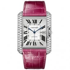 AAA Cartier Tank Anglaise diamond watch WT100023 18K white gold fuschia leather strap
